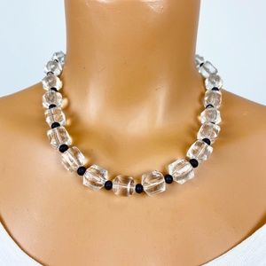 vintage lucite & black bead costume jewelry